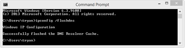 Workbench Server Flush DNS Resolver Cache commmand prompt