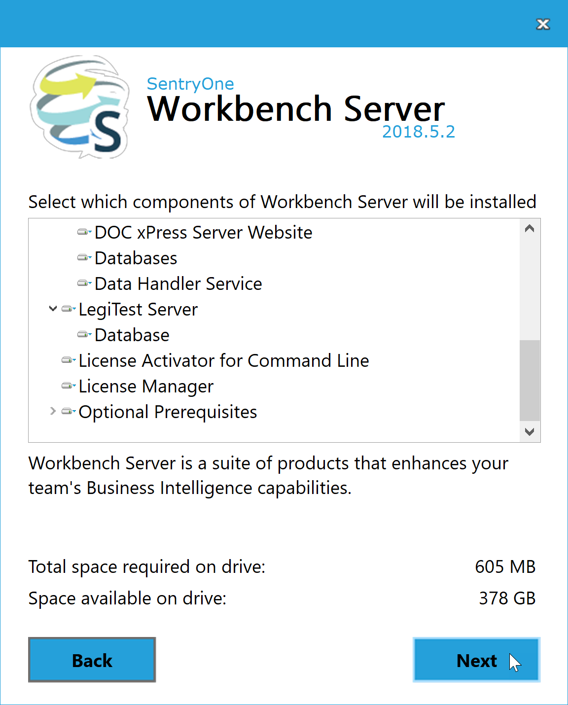 BI xPress Server Installer Component selection