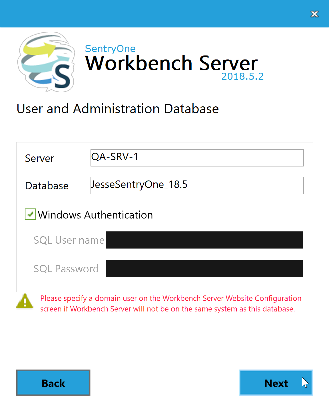 BI xPress Server Installer User and Adminsitration Database