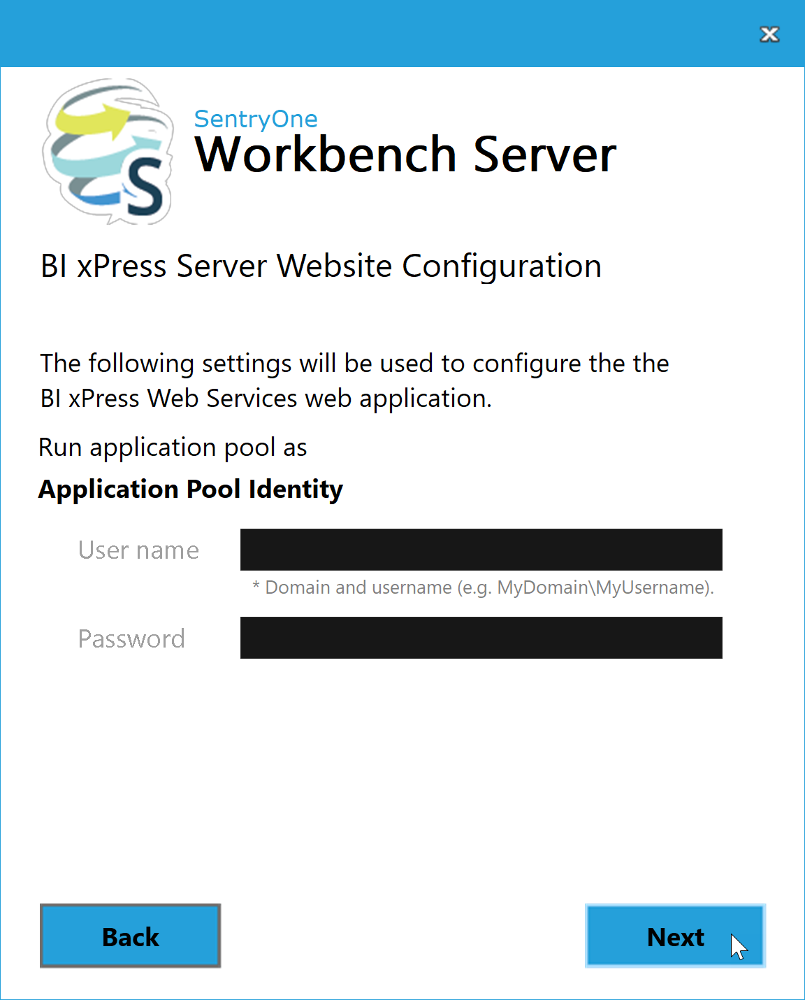 BI xPress Server Installer BI xPress Server Website Configuration