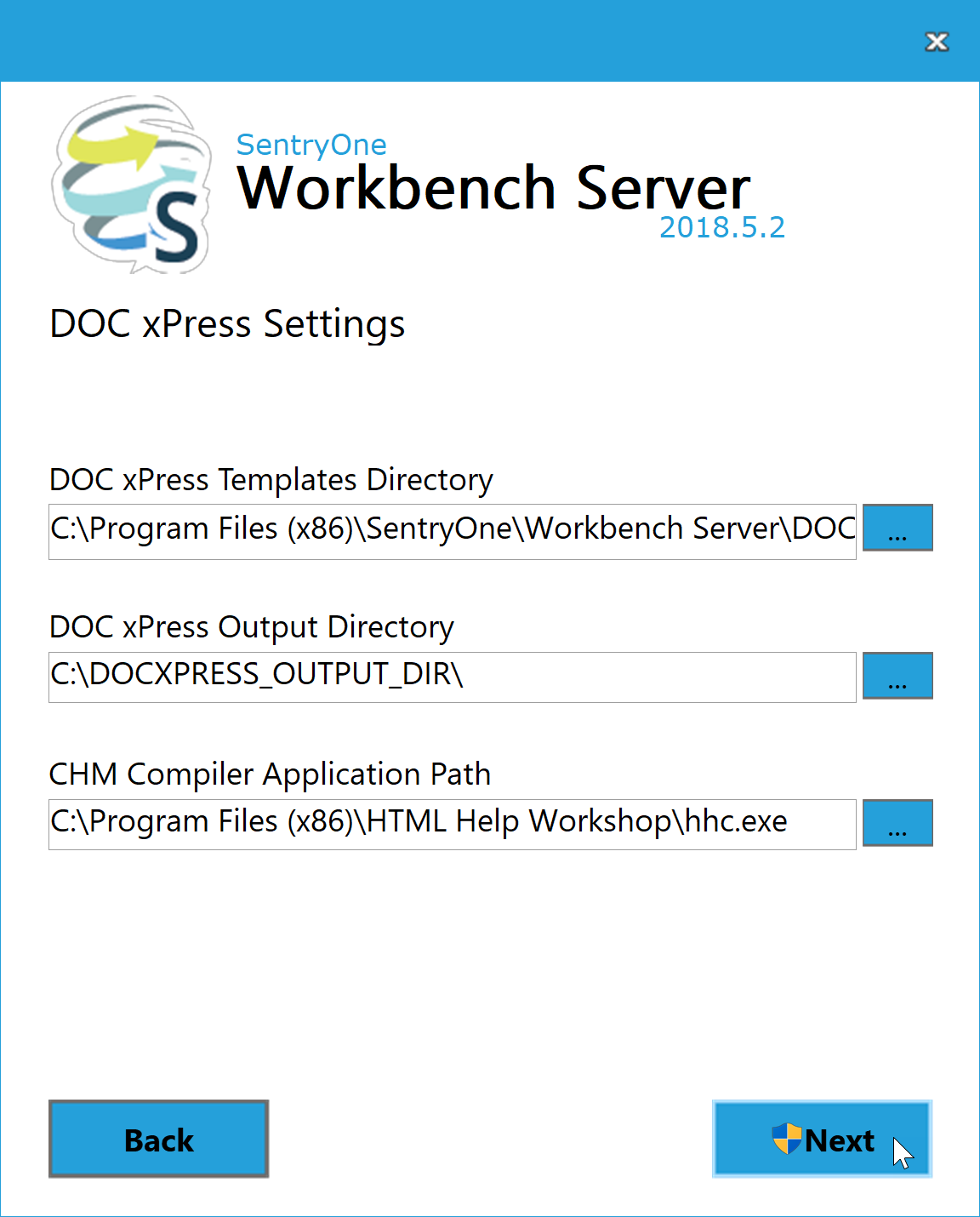 BI xPress Server Installer DOC xPress Settings