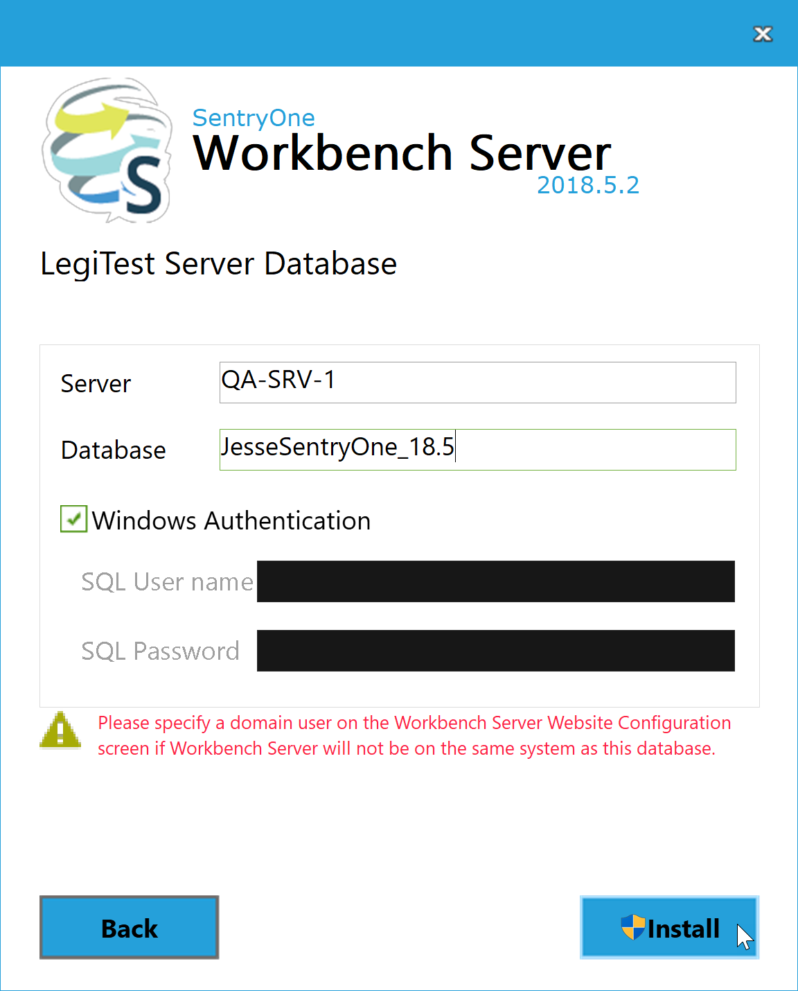 BI xPress Server Installer LegiTest Server Database