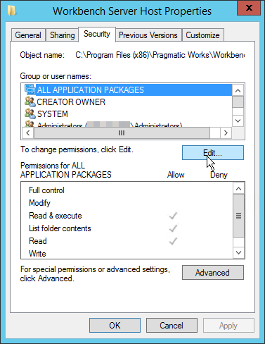 BI xPress Server Workbench Server Host Properties