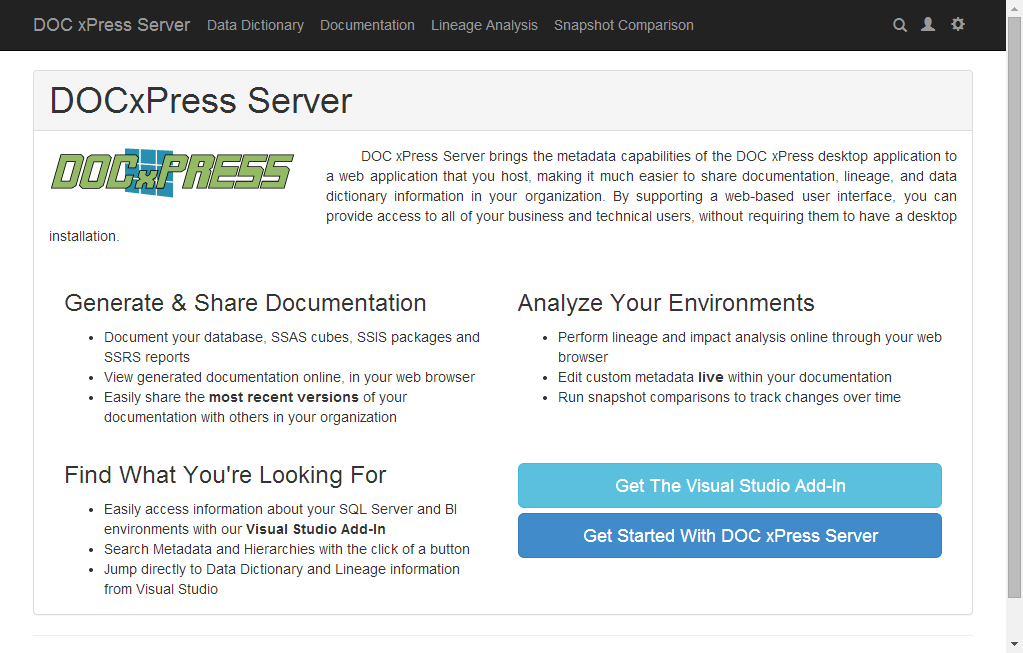 DOC xPress Server Welcome page