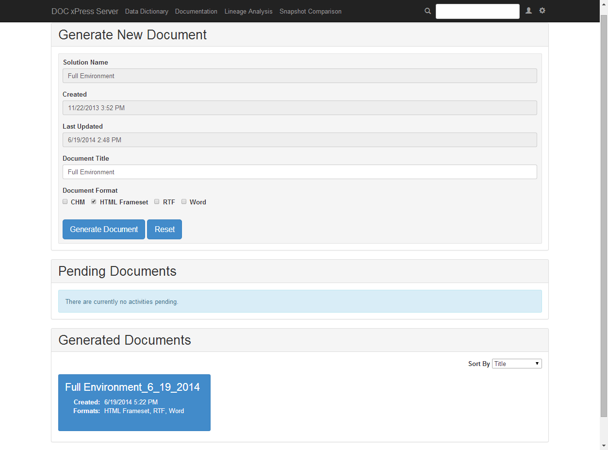 DOC xPress Server Generate New Document page