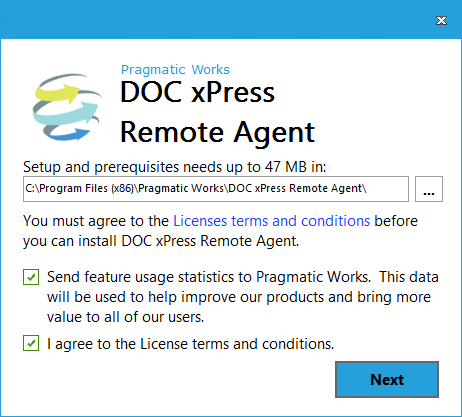 DOC xPress Server Remote Agent Installer License terms