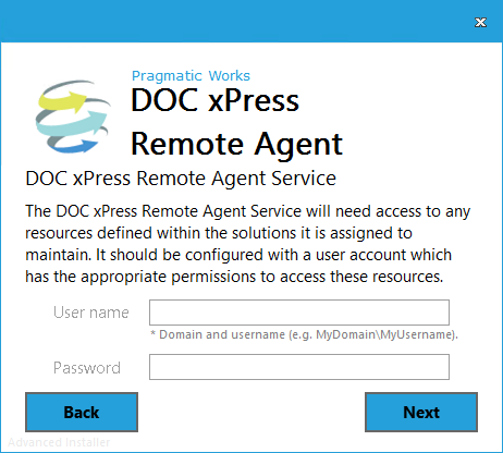 DOC xPress Server Remote Agent Installer Remote Agent Service
