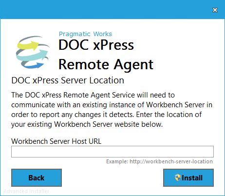 DOC xPress Server Remote Agent Installer Server Location