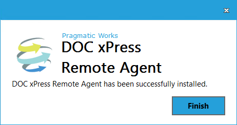 DOC xPress Server Remote Agent Installer Finish