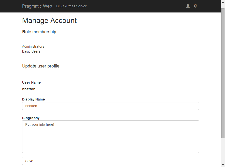 BI xPress Server Manage Account page