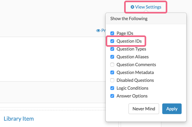 View Settings: Question IDs