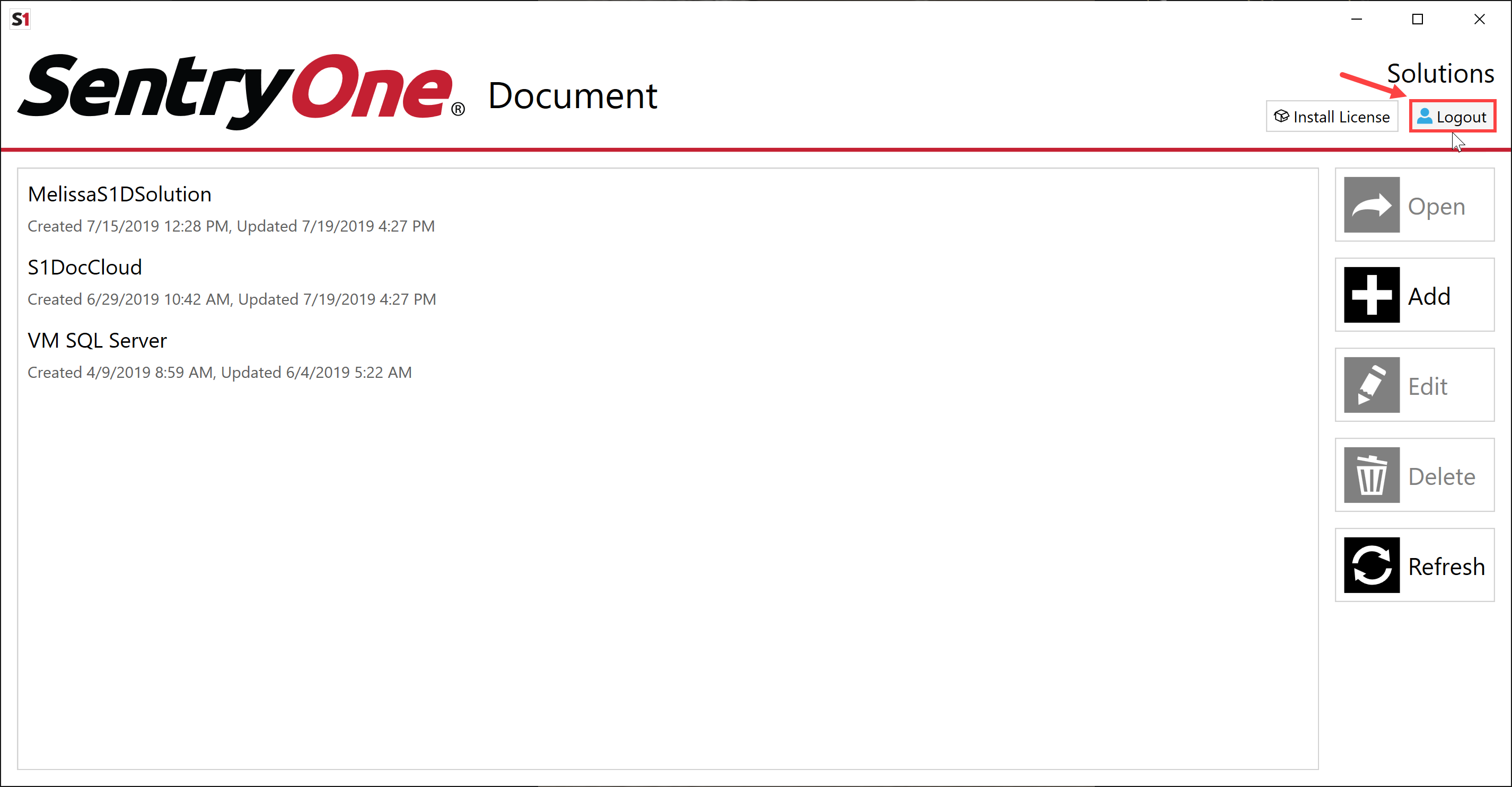 SentryOne Document Solution Configuration Tool select Logout