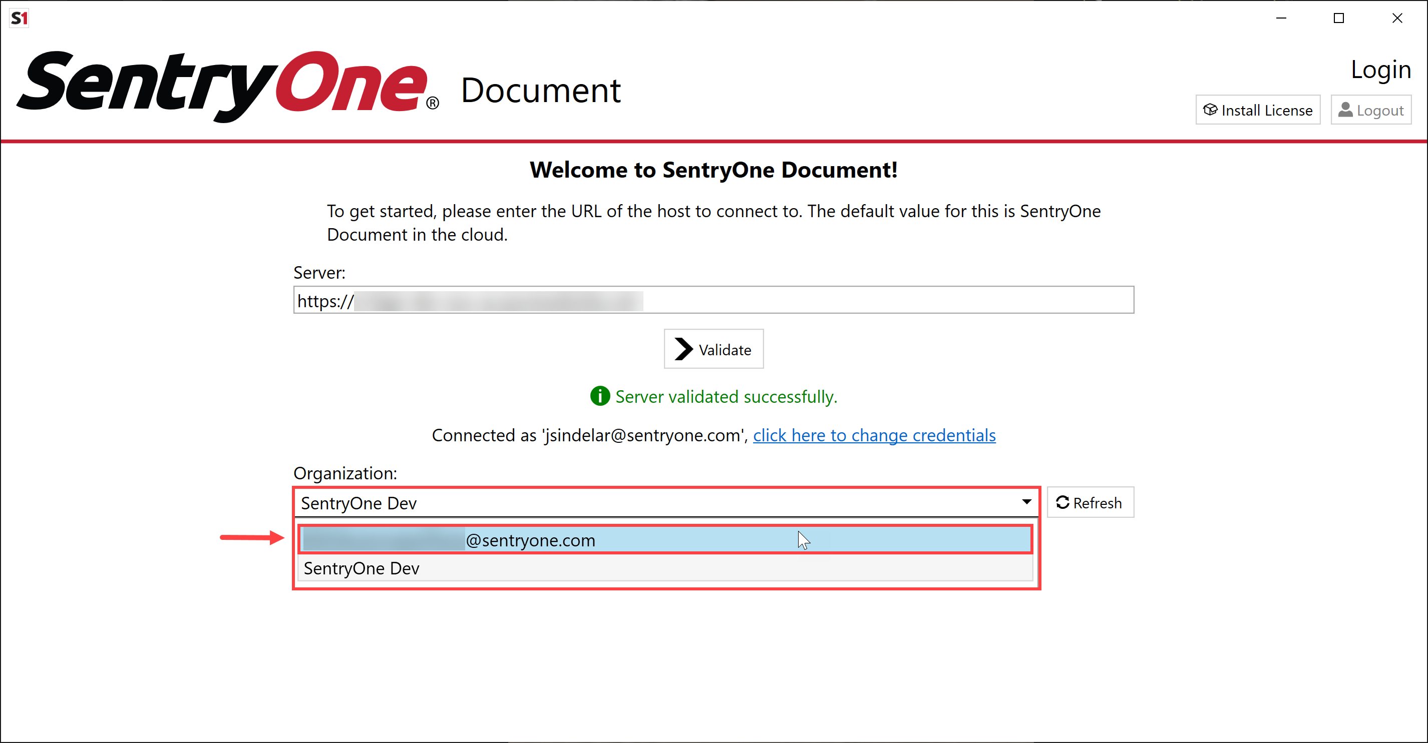 SentryOne Document Solution Configuration Tool select Organization