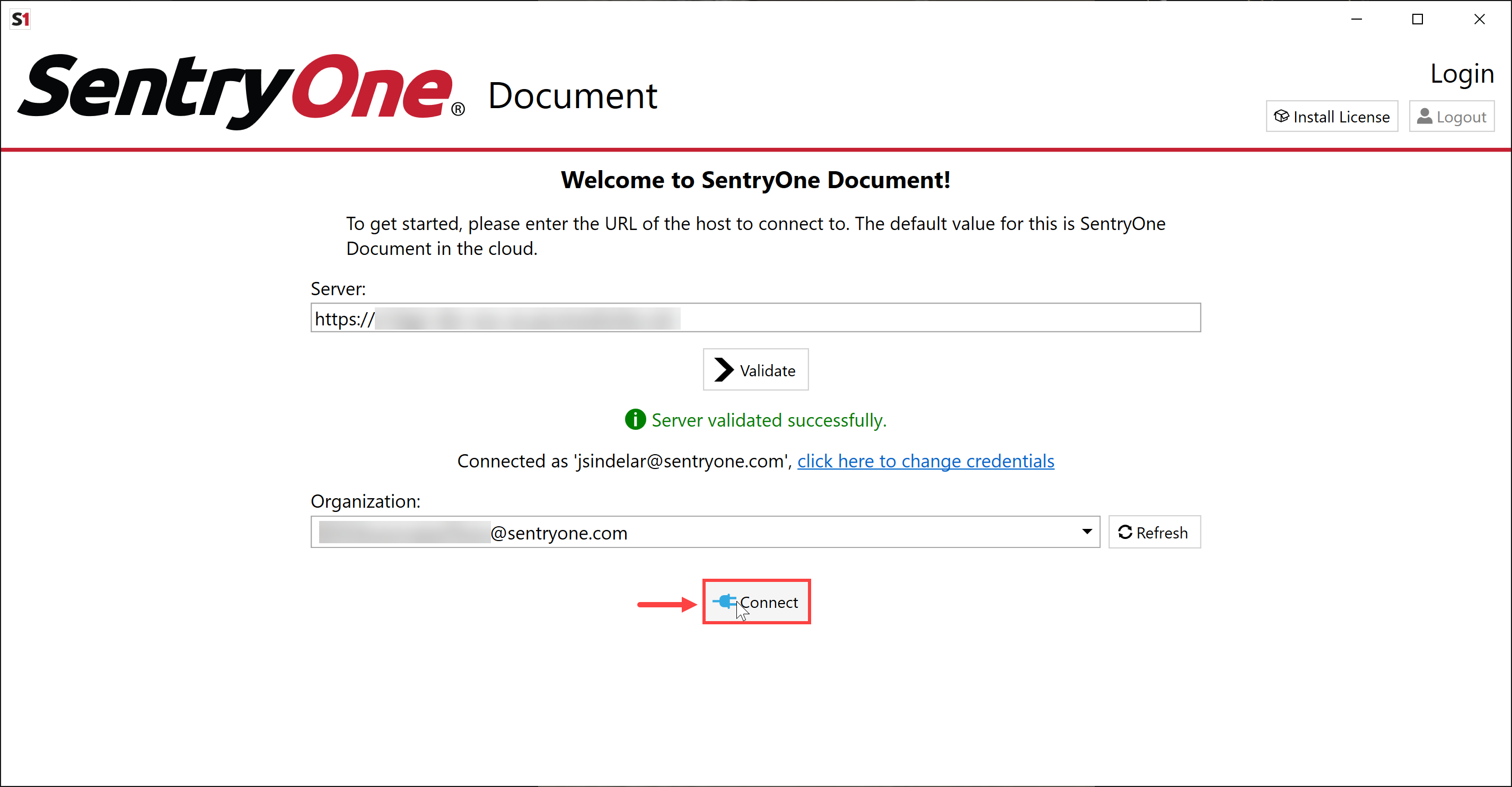 SentryOne Document Solution Configuration Tool select Connect