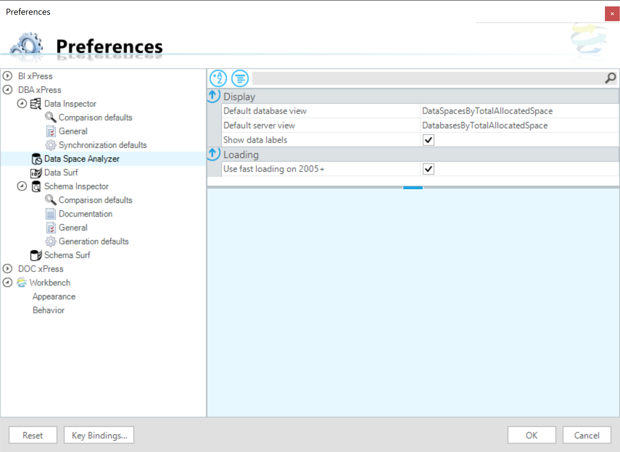 SentryOne Workbench DBA xPress Preferences Data Space Analyzer