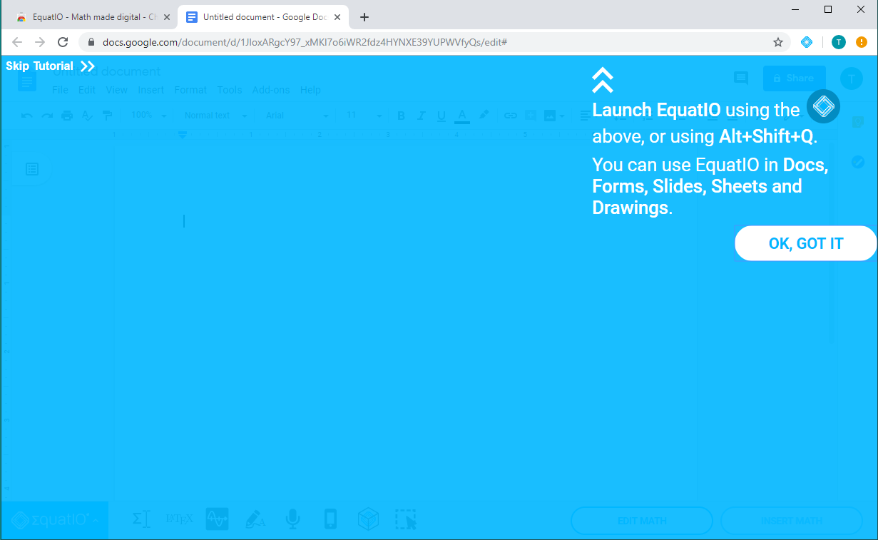 Image of the EquatIO tutorial screen when Equatio is launched for thr very first time within a google doc