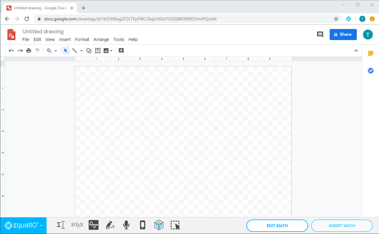 Google Drawings shown with EquatIO for Google toolbar