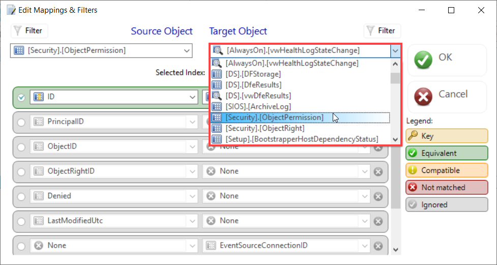DBA xPress Edit Mappings & Filter window Target Object