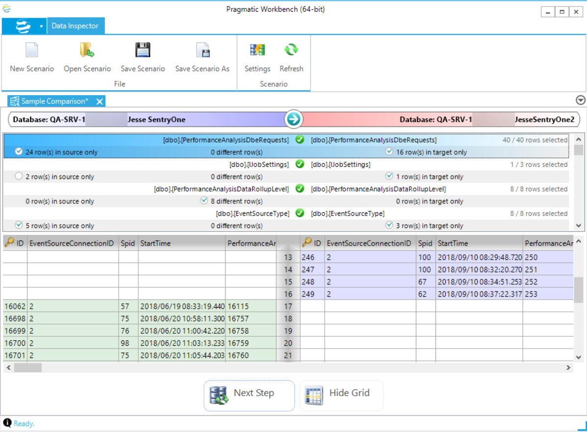 DBA xPress Data Inspector View Differences Blue and Green rows