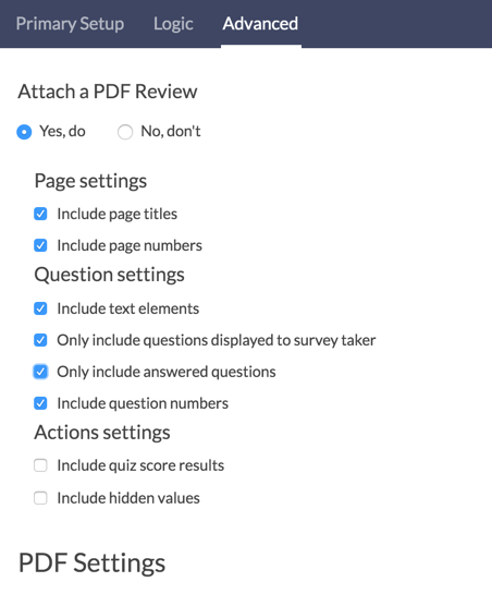 Send Email Action - PDF Settings