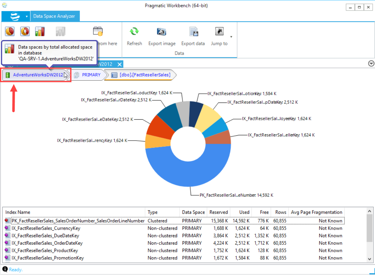 DBA xPress Data Space Analyzer return to previous view