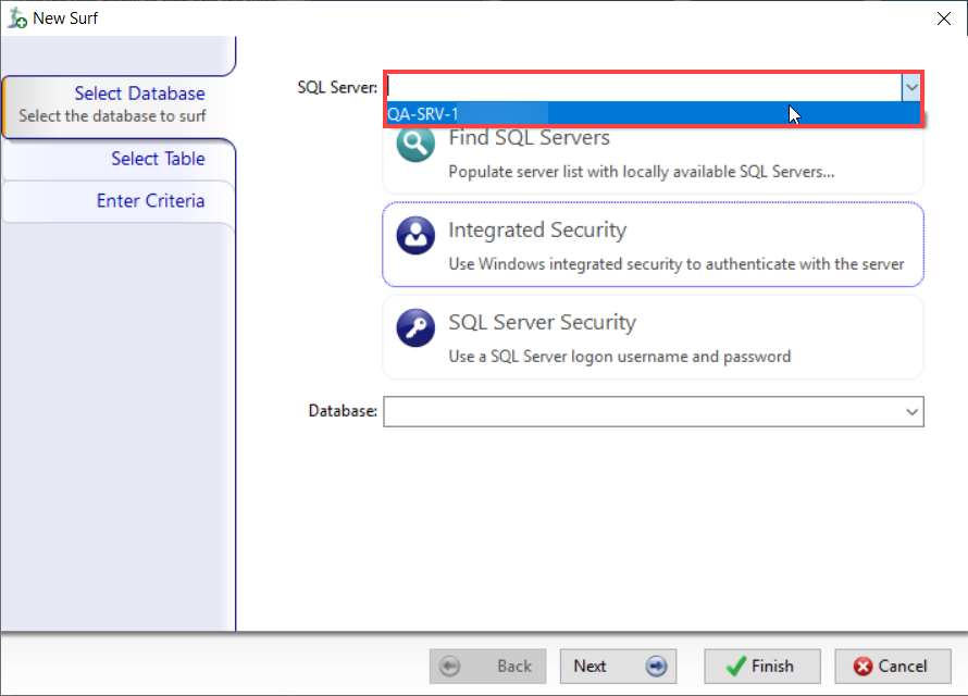 DBA xPress New Surf window select SQL Server