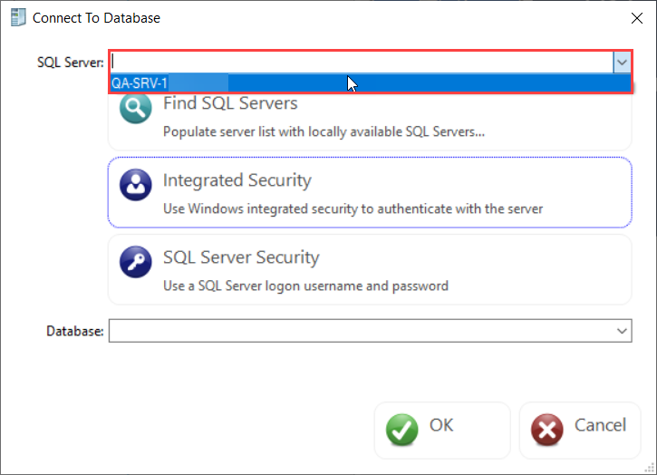 DBA xPress Connect to Database select SQL Server