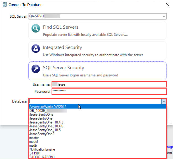 DBA xPress Connect to Database Enter credentials
