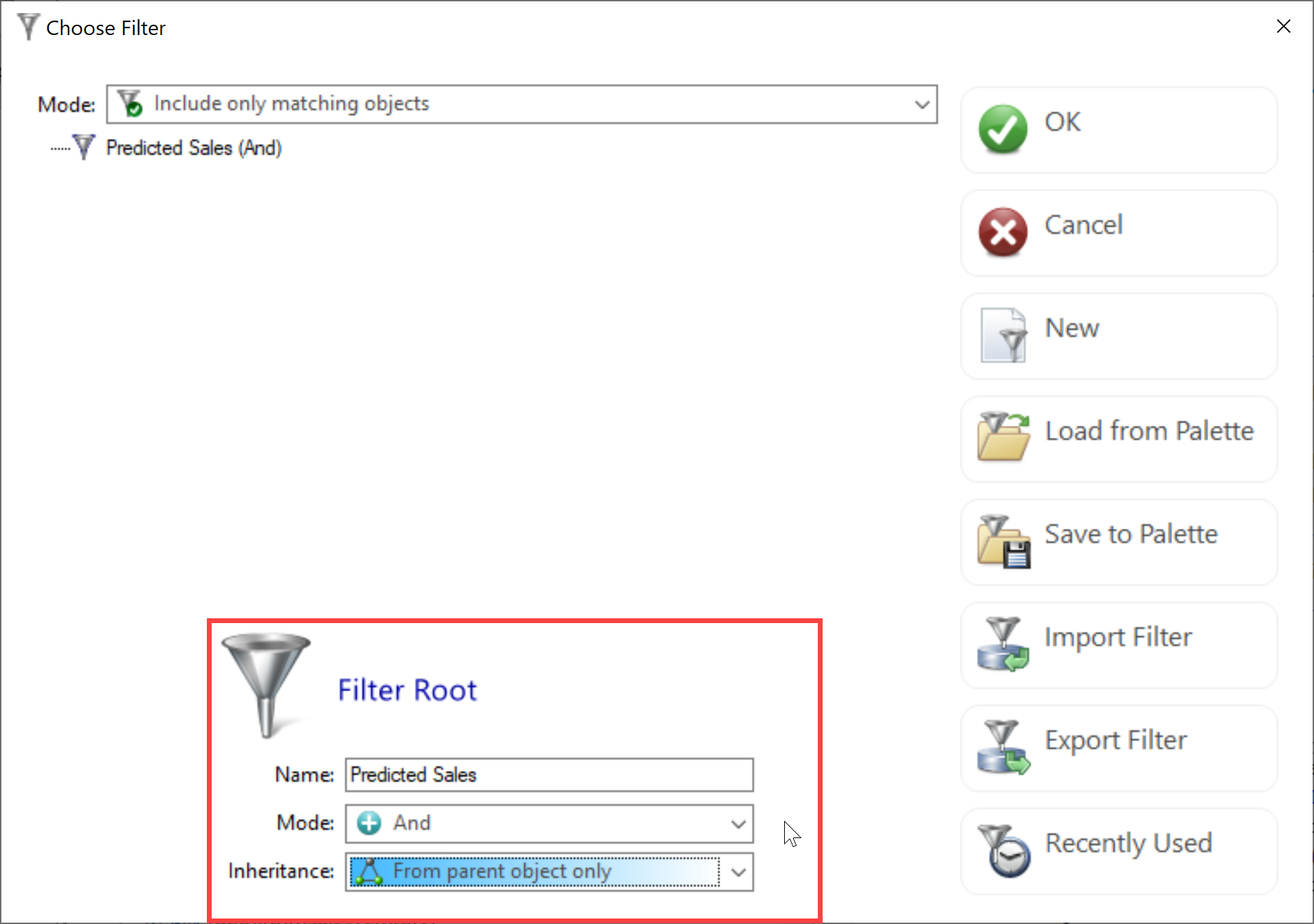 DBA xPress Choose Filter window Filter Root