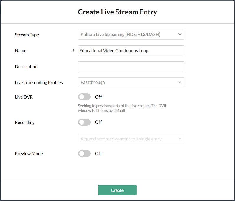 Add New Stream Window Settings