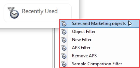 DBA xPress Choose Filter window Recently Used