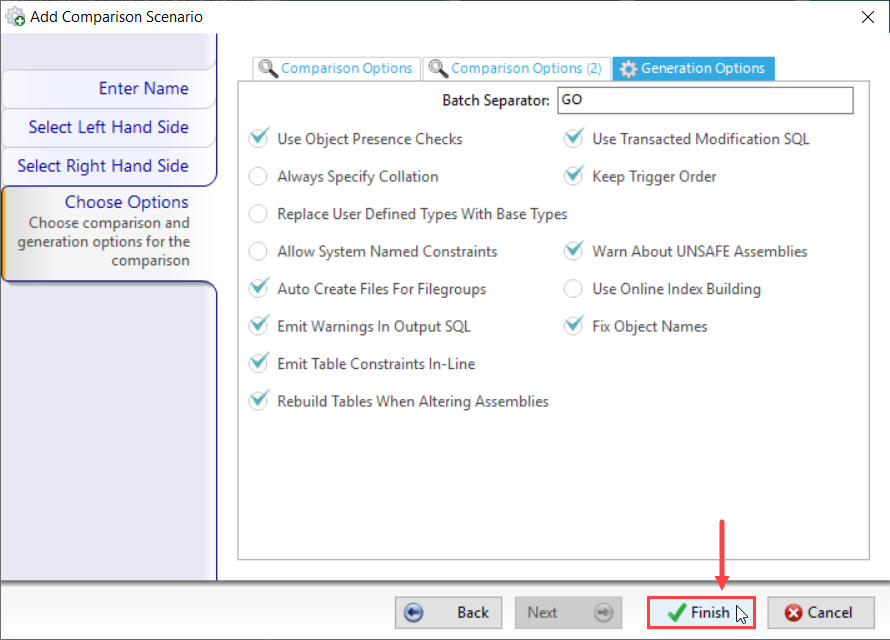 DBA xPress Add Comparison Scenario Choose Options