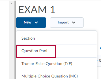 Identifies the Question Pool option.