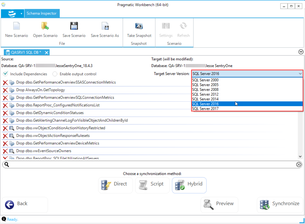 DBA xPress Schema Inspector View Action Plan Target Server Version drop down