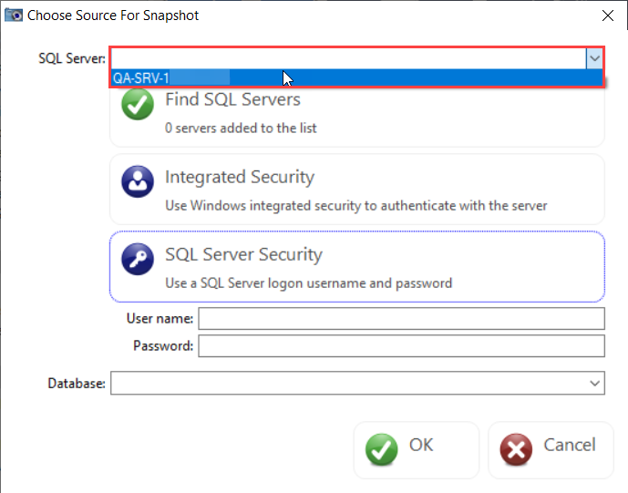 DBA xPress Choose Source For Snapshot window select SQL Server