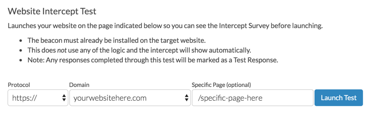 Website Intercept Test