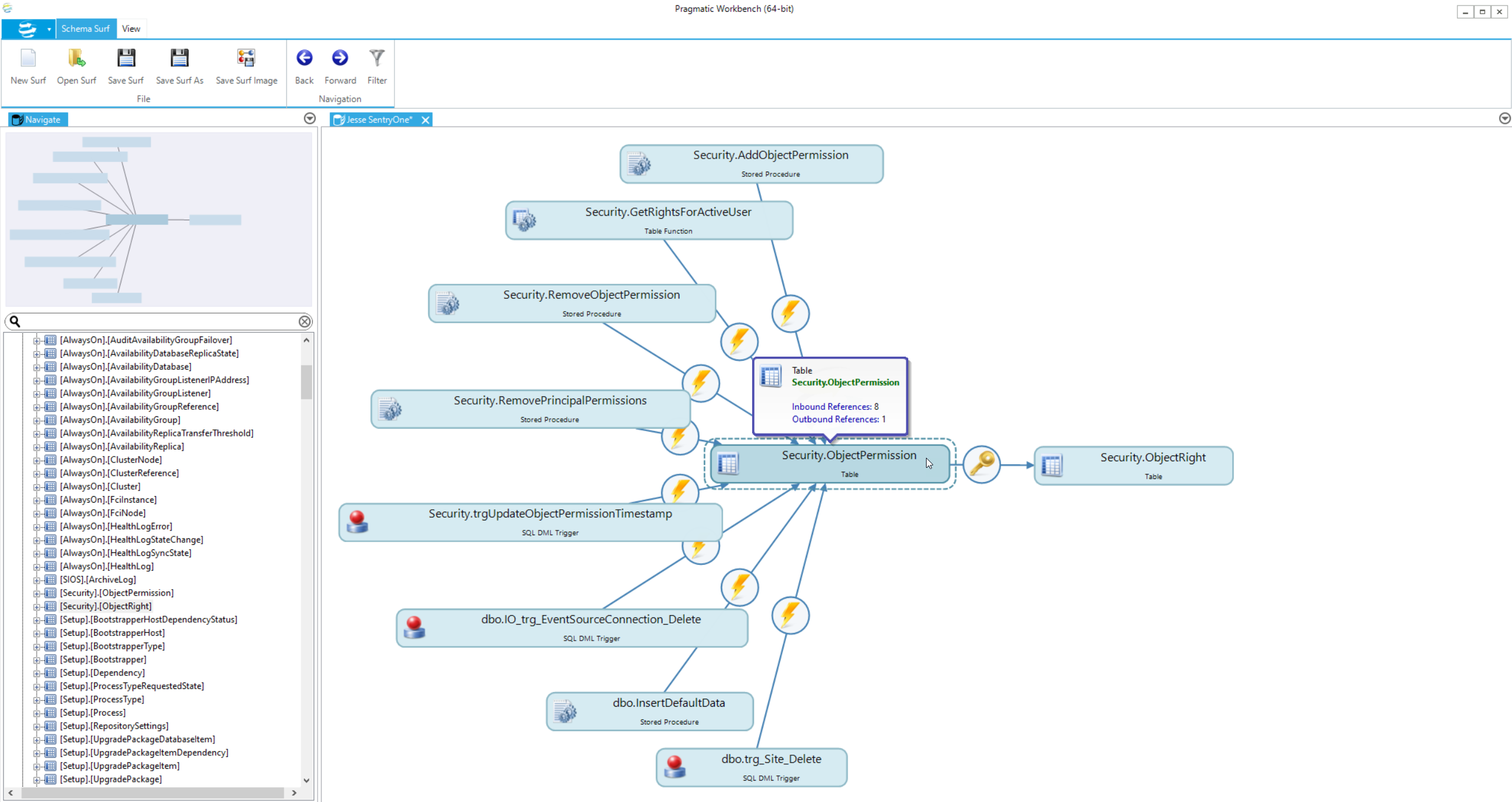 DBA xPress Schema Surf Hover over graph object