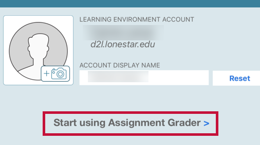 Indicates Start using Assignment Grader