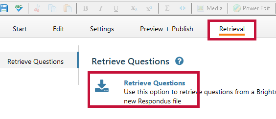 Identifies the Indicates Retrieval tab and the Retrieve Questions button.