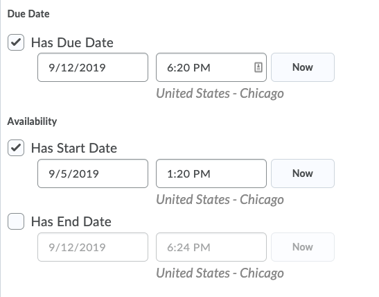 Shows date options