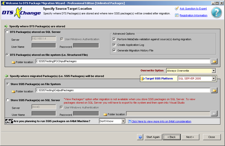 DTS xChange Specify Source and Target screen