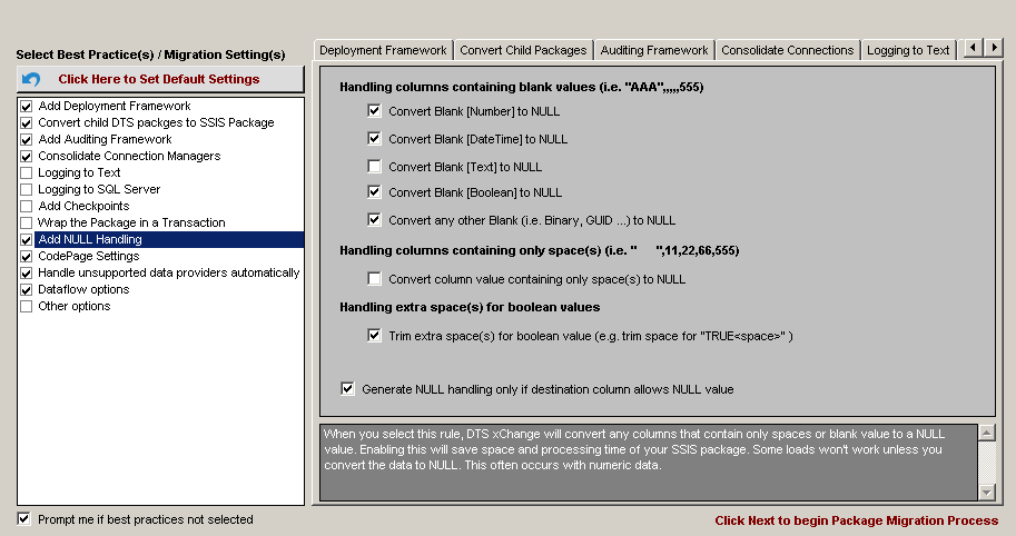 DTS xChange Add NULL Handling option