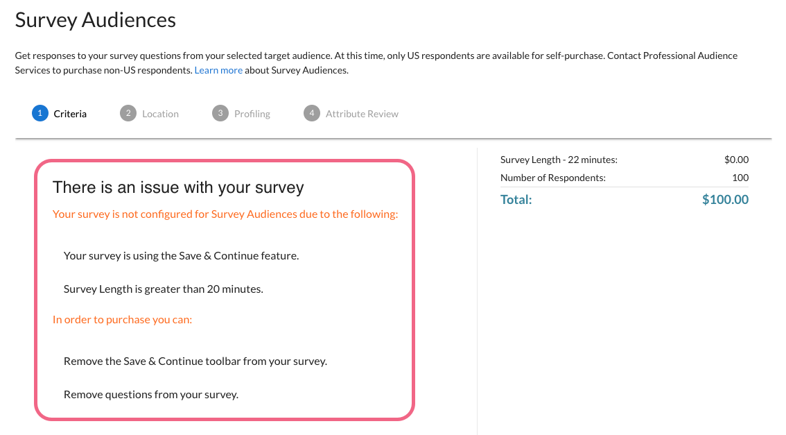 Survey is Not Configured for Survey Audiences