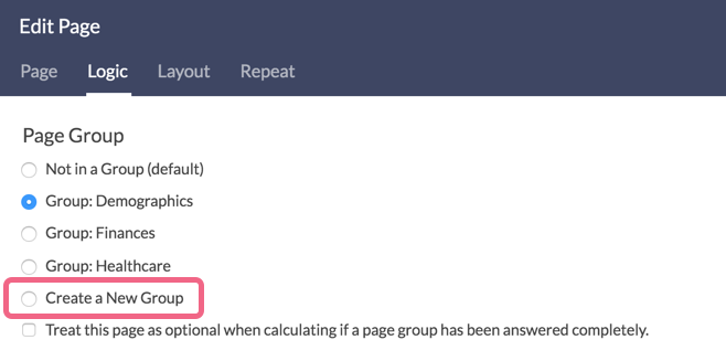Create New Group or Existing Group