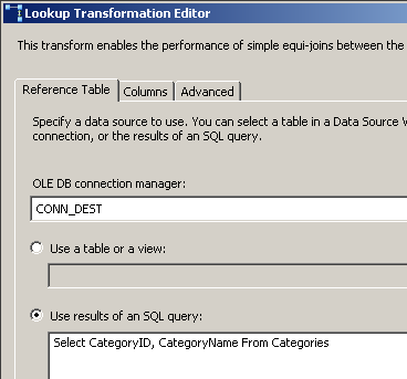 DTS xChange Lookup Transformation Editor Reference Table tab