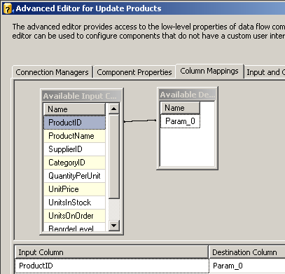 DTS xChange Advanced Editor for Update Products Column Mappings
