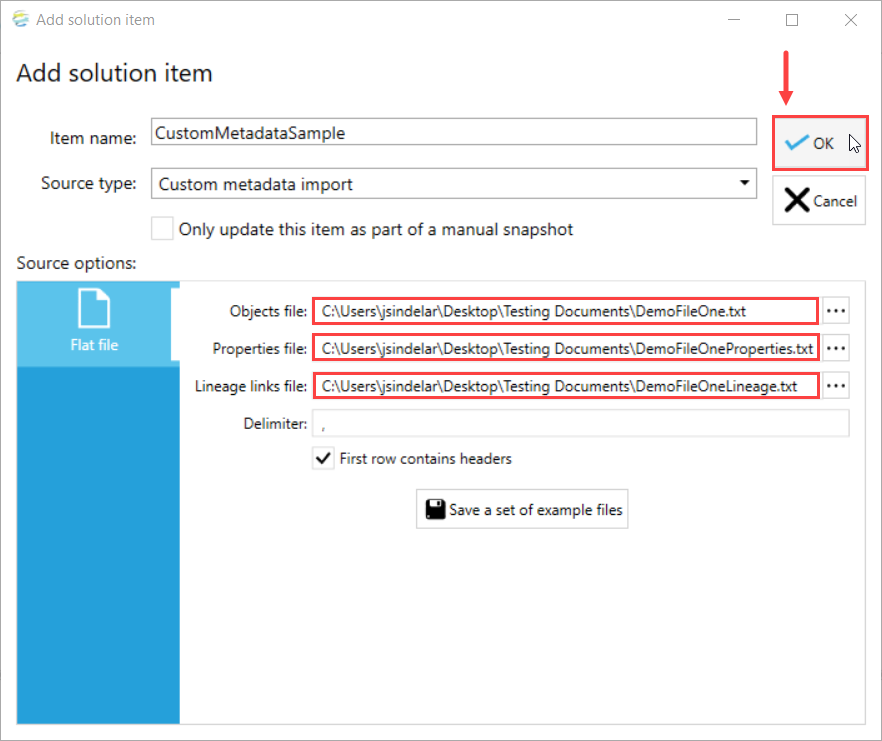 DOC xPress Add solution item Custom metadata import