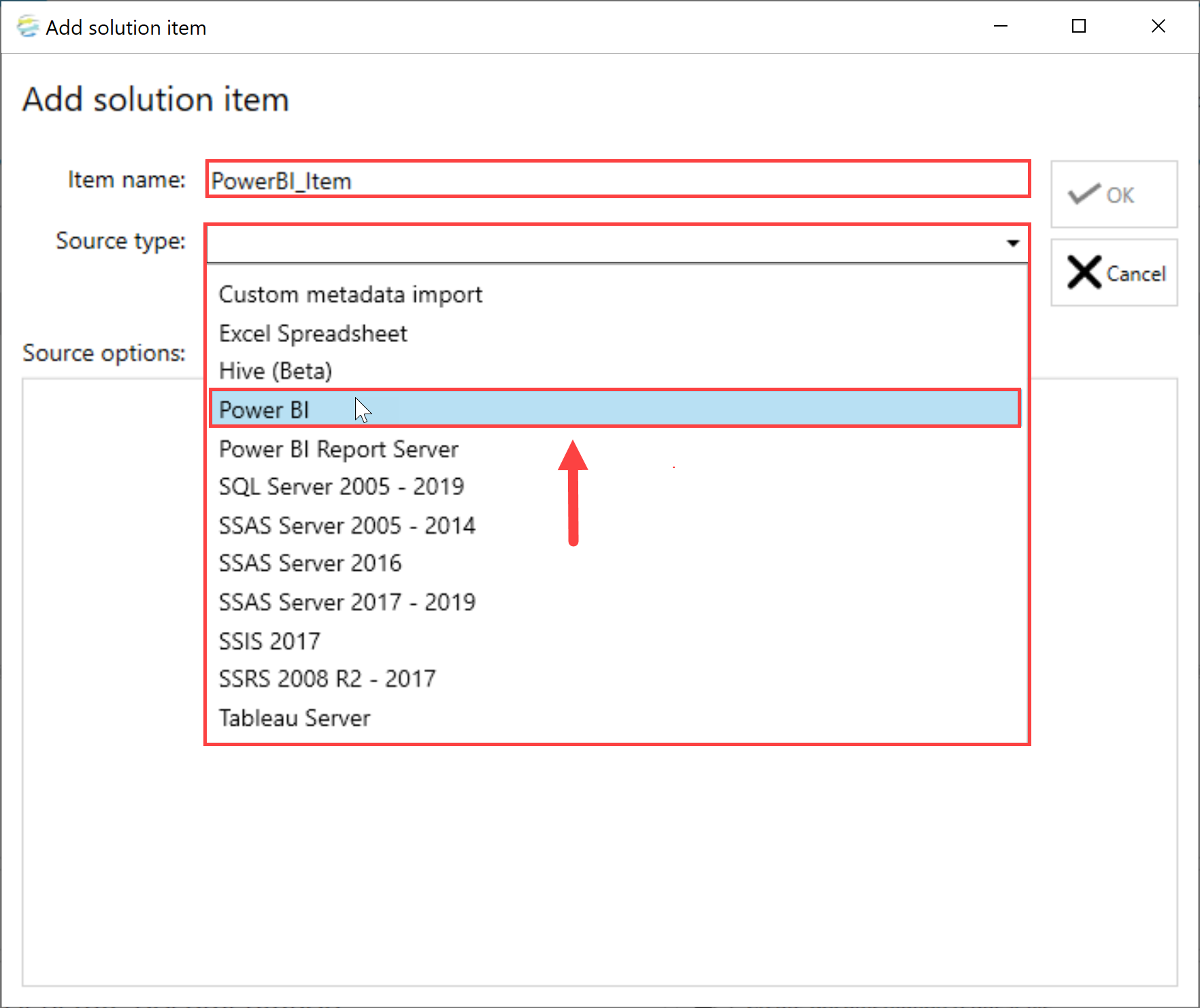 DOC xPress Add Solution Item Power BI