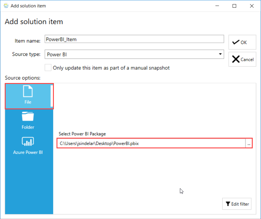 DOC xPress Add Solution Item Power BI File