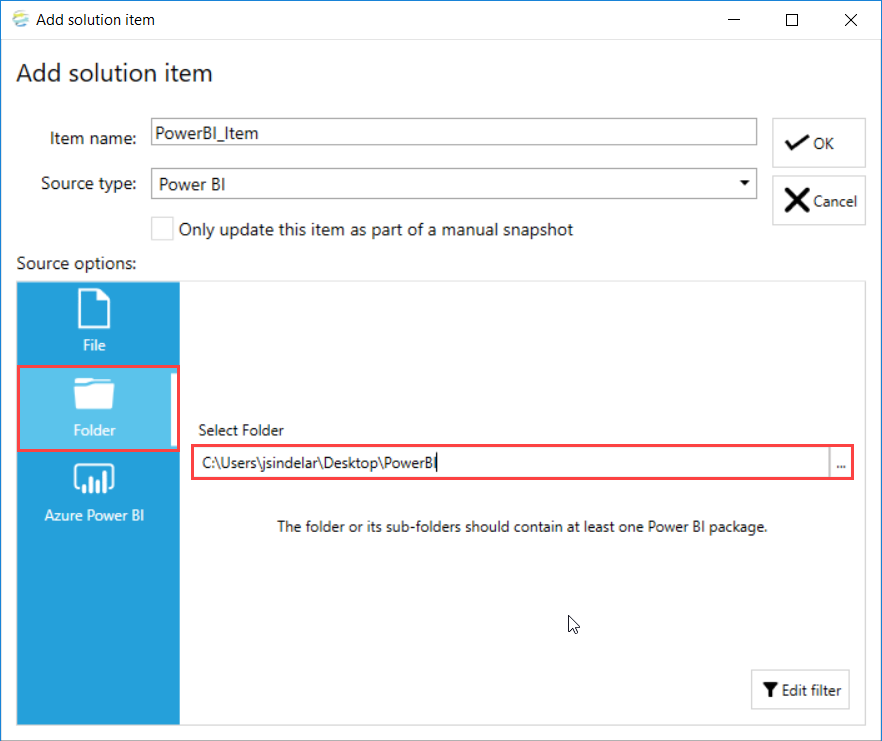 DOC xPress Add Solution Item Power BI Folder